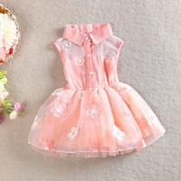 Kids Gilrs Princess One Piece Formal Party Dress 1-4T Chiffon Floral Dress = 1958195972