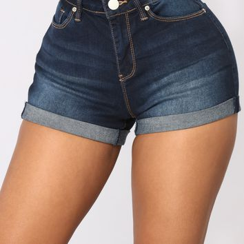 No More Trouble High Rise Shorts - Dark Denim