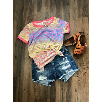 Neon Colorful Leopard Burn Out Ringer Tee