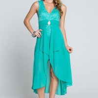 Perfect Evening Mint Lace Hi Low Maxi Dress