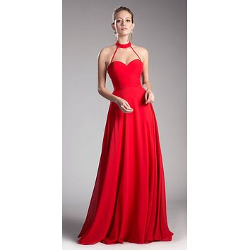 Red Halter Sweetheart Neckline Long Formal Dress