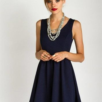 Navy Fit and Flare Mini Dress