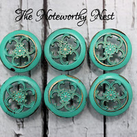 Six Knobs // Decorative knobs // drawer pulls // dresser knob // cabinet knob // dresser knobs // unique knobs // Aqua distressed knobs