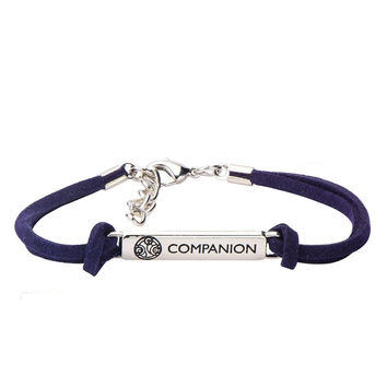 Doctor Who Companion Stainless Steel Blue Cord Leather Bracelet BBC Licensed New
