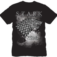 Game of Thrones Snowy Stark Wolf Direwolf Men T SHirt WINTER IS COMING Graphic Design Summer Fashion Top Tee Shirts Size S-3XL