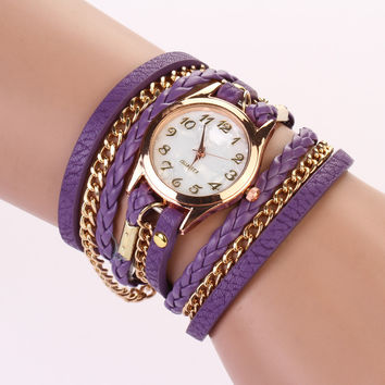 Leather Wrap Bracelet Watch - Purple