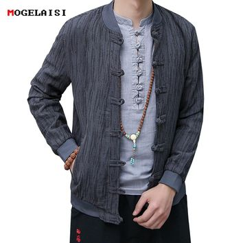 Autumn Men Jackets Linen Cotton Bark stripe Chinese Style Jacket Man Flax Coat Men's Jacket Pattern O-Neck Asian size M-3XL 618