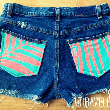 High Waist Jean Shorts Size