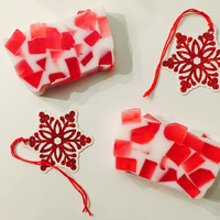 Peppermint Twist Soap, Glycerin and Shea Butter Peppermint and Shea Butter Soap, Peppermint Essential Oils, Holiday Decorative Soaps, Bath