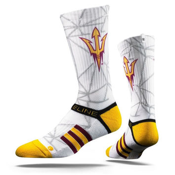Strideline® 2.0 White Gem Arizona State Sun Devils White–Maroon–Gold Crew Socks