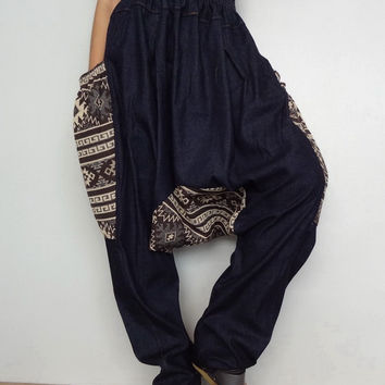 Extra Large Drop Crotch Harem pants,Unisex Patchwork Long Trouser, Denim lightweight & Hand Woven(pants-PW02).