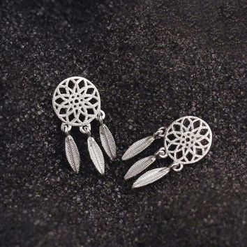 Fashion Silver Bohemia Nationality Indian Feather Dream catcher Dreamcatcher Stud Earrings For Women Fine Jewelry