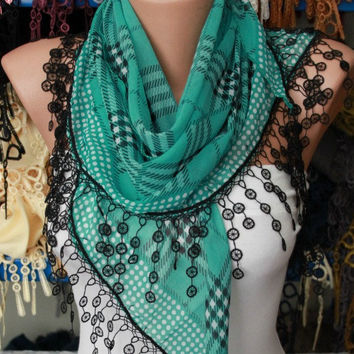 Mint Plaid  Scarf -  Cotton Scarf  Cowl with  Lace Edge