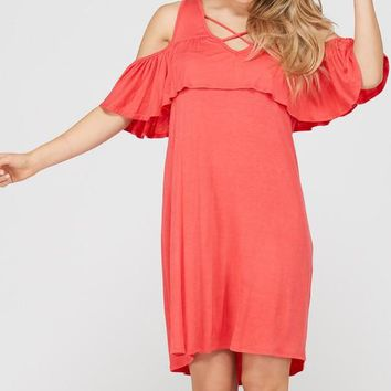 Solid ruffle mini dress with cold shoulder - Coral