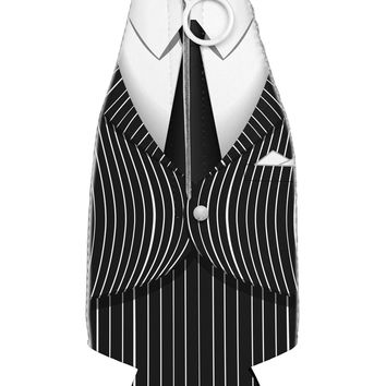 Pinstripe Gangster Jacket Printed Costume Collapsible Neoprene Bottle Insulator All Over Print