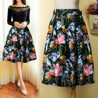 High Waist Print A-Line Pleated Midi Swing Skirt