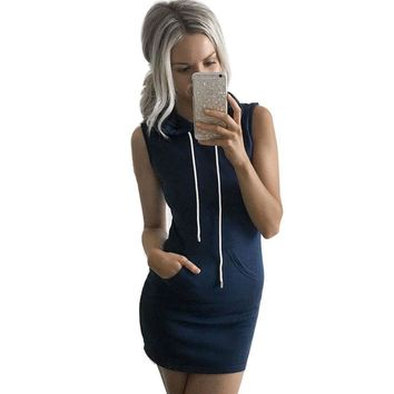 JECKSION Summer High Street Women Dress Fashion Round Neck Casual Sleeveless Hoody Dress #LWN