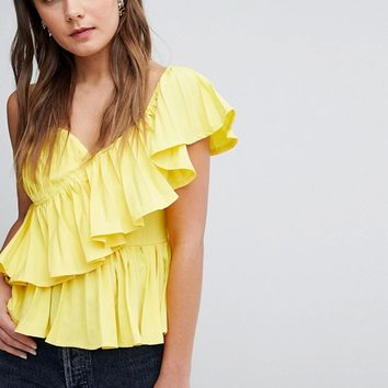 Boohoo Ruffle Trim Cami Top at asos.com