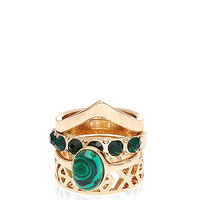 Dark Green Gemstone Fingertip Rings