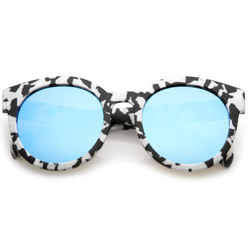 Women's Round Marble Print Mirrored Lens Sunglasses C251