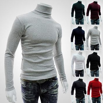 Uwback 2017 New Brand Winter Men Sweaters Autumn Long Sleeve Solid Turtleneck Male Slim Wool Sweaters Homme Size M-2XL XA184