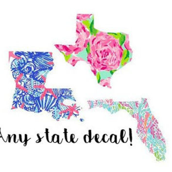 Custom Lilly Inspired State Decal, Lilly pulitzer decal, state decal, Lilly pulitzer state decal, custom state decal, preppy state decal