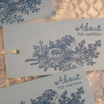 Baby Shower Bird Nest Tags Set of 8
