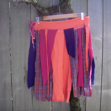 Tattered Funky Eco Pixie Skirt/ Urban Fairy Punk Wrap Skirt Festival Wear Lagenlook