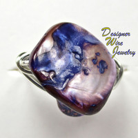 DWJ0181 Fiery Purple Abalone Silver Wire Wrapped Ring All Sizes