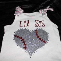 Lil/Big Sis Baseball Heart Glitter and Bling Tee or Tank--Customized with players number