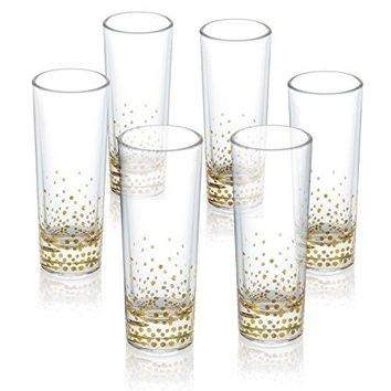 Fitz And Floyd Luster Gold Whiskey Shot Glasses Set of 6