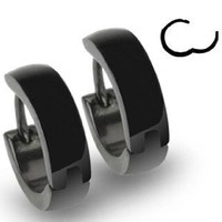 316L Stainless Steel Black Hinged Hoop Earrings - Sold as a Pair