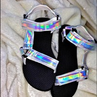 SWEET LORD O'MIGHTY! HOLOGRAM VELCRO SANDALS