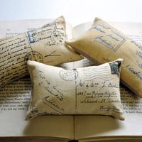 French postcard mini pillows by lisawinestudios on Etsy