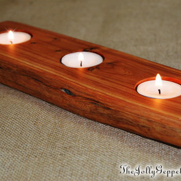 Wooden Table Candle Holder, Rustic Tree Candle Holder, 3 Tea Lights Included, Juniper Heart Wood, Rustic Meets Magical, The Jolly Geppetto