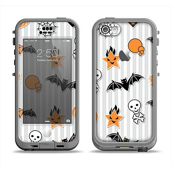 The Halloween Icons Over Gray & White Striped Surface  Apple iPhone 5c LifeProof Nuud Case Skin Set