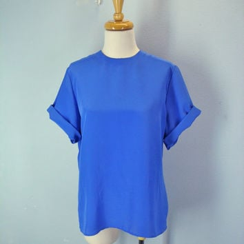 80s Silky Tee Blouse Slouchy Blue Purple Tshirt m-l