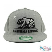 California Republic Snap Back Hat - Gray