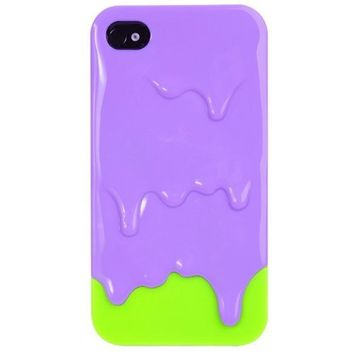 3D Purple with Green Melt ice-Cream Skin Hard Case Cover for iPhone 4S 4 Protect Case