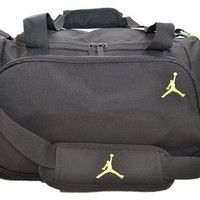 Nike Air Jordan Black and Green Duffel Gym Bag 8a1215-982