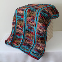 Afghan - Handmade Crochet Large Panel Blanket - Red, Turquoise, and Coordinating Multi