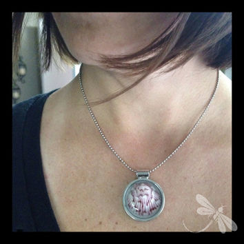 Pink Florida Scallop Necklace in a Chunky Silver Setting N59