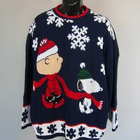 Vtg PEANUTS SNOOPY CHARLIE BROWN UGLY CHRISTMAS SWEATER mens M-L-XL womens 2X