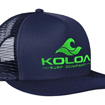 Koloa Surf(tm) Mesh Back Trucker Hat in Navy with Green Logo