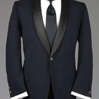 Vintage 60s Custom Navy Satin Shawl Tuxedo Smoking Jacket 44 R Monkey Suit