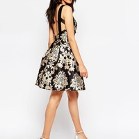 Chi Chi London Petite Baroque Strap Back Prom Dress at asos.com