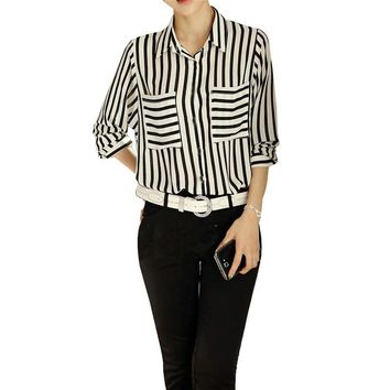Black White Stripped Female Blouses Long Sleeve Button Down Women's Shirt Vertical Striped Chiffon Pocket Career Tops Hot Sale
