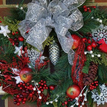 Lush Winter Wreath with Red and Silver,  Winter Wreath, Christmas Wreath, Snowflake Wreath, Winter Door Decor, Red and Silver