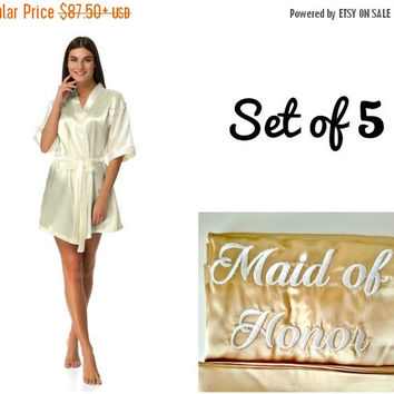 SALE Bridesmaid robes set of 5, Wedding robes, Robes for bride and bridesmaid, Cheap robes, Robes under 20, Personalized robes, Monogrammed