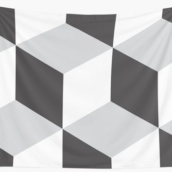 'Cubism Black and White' Wall Tapestry by nileshkikuchise